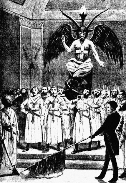 Early Masonic Ceremony using satanic deity, Baphomet, from which the satanic ritual star is named.